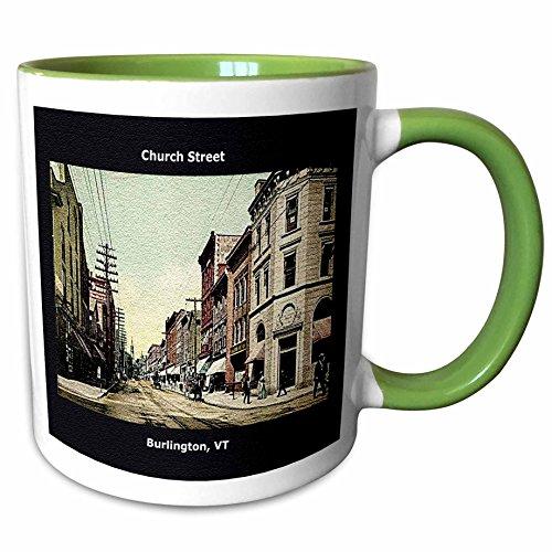 3dRose Sandy Mertens Vermont - Church Street, Burlington, VT (Vintage 1907) - 11oz Two-Tone Green Mug - Church Burlington 2 Vt Street