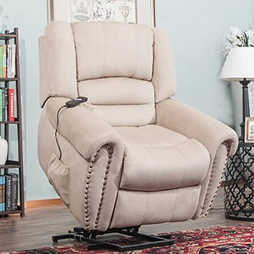 Merax Wilshire Series Heavy-Duty Power Lift Recliner Chair with Built-in Remote and 2 Castors Beige