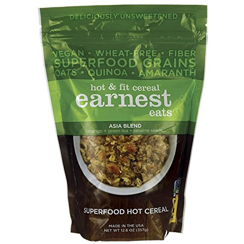 Amaranth Cereal - Earnest Eats Vegan Hot Cereal with Superfood Grains, Quinoa, Oats and Amaranth, Asia Blend, 12.6 oz.