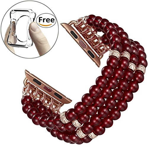 - Fastgo for Apple Watch Band,Sport Fashion Handmade Beaded Elastic Stretch Faux Pearl Bracelet Replacement iWatch Strap Women Girls for Apple Watch Series 3/2/1 (Red-38mm)