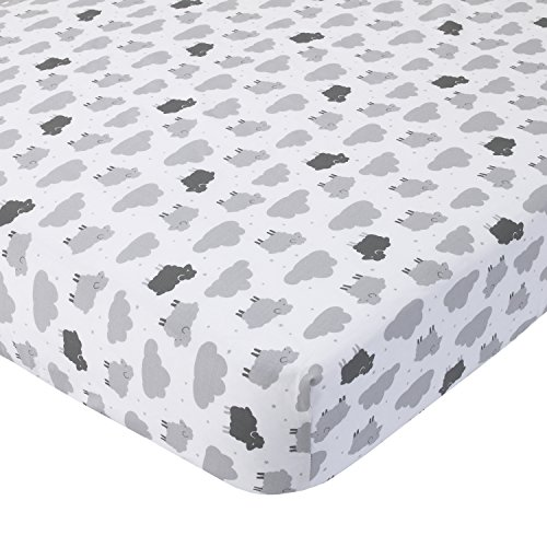 Carter's 100% Cotton Fitted Crib Sheet, Sheep/Clouds, Gray, White