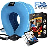 NeckFix Cervical Neck Traction for Instant Neck Pain Relief at Home ✮ Inflatable & Adjustable Neck Stretcher Collar Device - Box Included