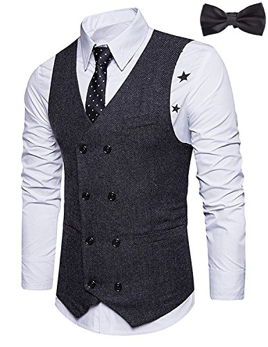 Sitengle Mens Vintage Vest V-Neck Double-Breasted Suit Vests Dress with Cool Black Bow Tie