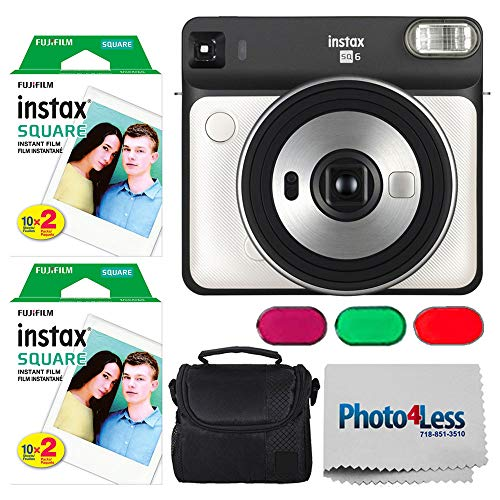 Fujifilm instax Square SQ6 Instant Film Camera (Pearl White) + Fujifilm instax Square Instant Film (40 Exposures) + Small Digital Camera/Video Case (Black) + Photo4Less Camera and Lens Cleaning Cloth