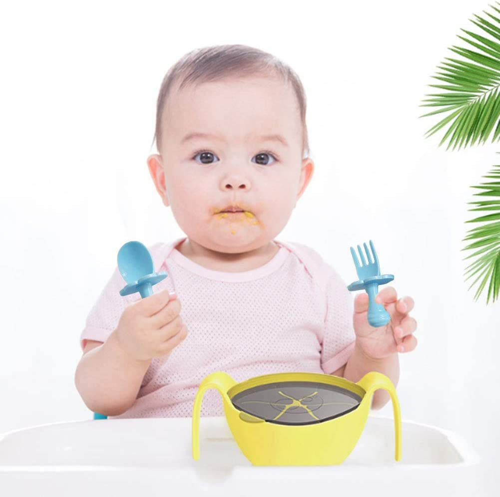 Self-Feeding Baby Cutlery Set Pink, Blue WENTS Toddler Cutlery Sets Baby Utensil Self Feeding Kit Children Feeding Training Learning Spoons and Fork Easy Grip 7x4.5cm