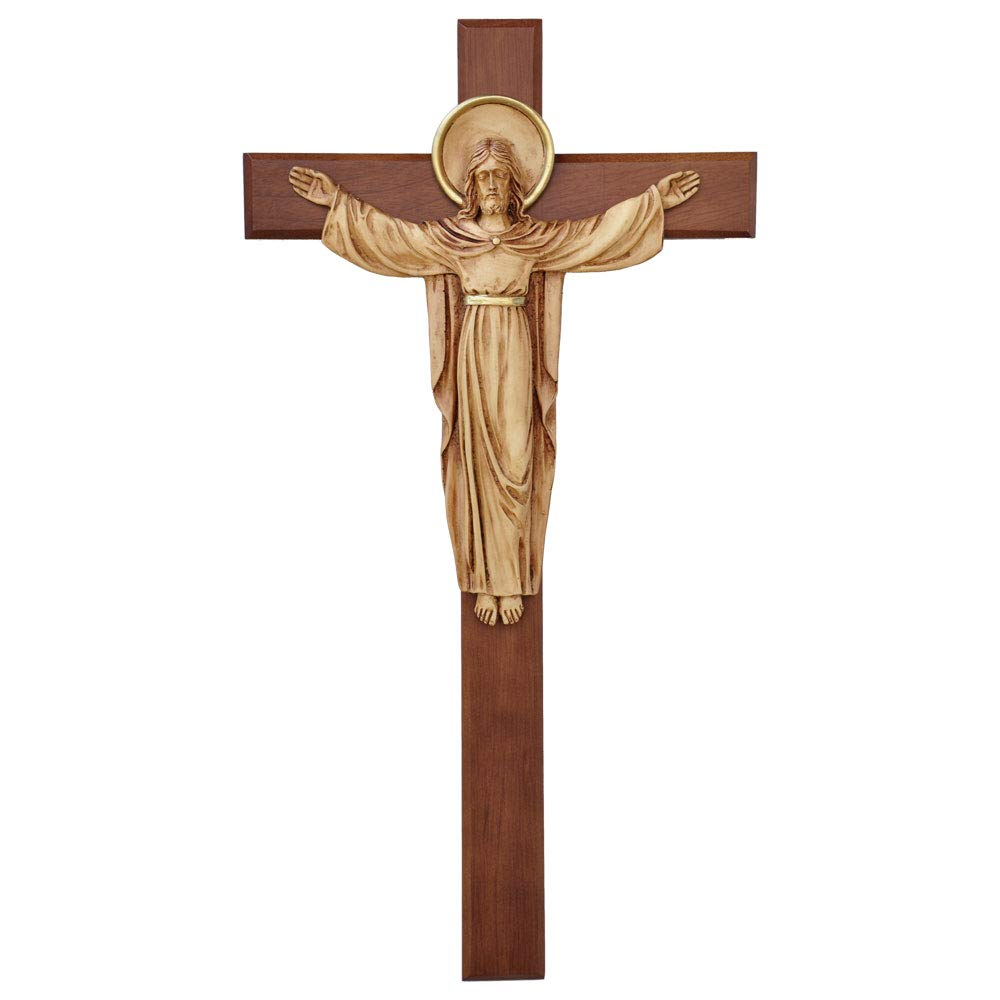IHM Imports 18'' Wall Crucifix Risen Christ Hardwood Cross with Resin Corpus