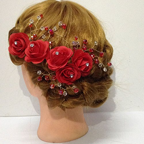 Pins Accessories For Women Hair Piece Comb Decorative Bridesmaids Clips (Red) ()