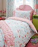 Single Duvet set & Curtains - Girls Unicorns Fairies & Rainbows Bedding (Single Set & Curtains 66x54')