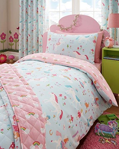 DOUBLE SIZE Duvet set & Curtains - Girls Unicorns Fairies & Rainbows Bedding (Double Duvet Set & Curtains 66x54