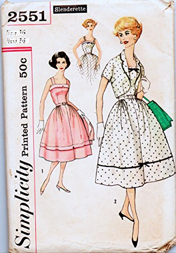 Simplicity 2551 Misses Full Skirt Dress and Jacket Sewing Pattern Check Offers for Size