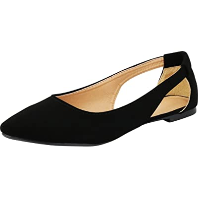 Cambridge Select Women's Slip-On Side Cutout Pointed Toe Ballet Flat | Shoes
