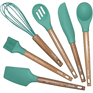 6 Pcs Silicone Baking Utensils Set | Kitchen/Cooking Tools-Spatula, Whisk, Scraper, Pastry Brush, Slotted and Solid Spoon | Non-Stick, Non-Scratch, High Heat Resistant (Mint)