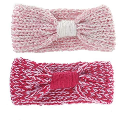 Kids Cable Knit Headbands - Winter Bow Hair Bands, Ponytail Crochet Head Wrap Ear-Warmer | 2 Pack (Type 2) (Crochet Headbands 3 Inch)