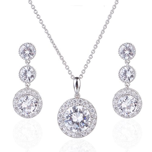 - Wordless Love Gorgeous Round Halo CZ Wedding Jewelry Sets for Brides Earrings and Necklace