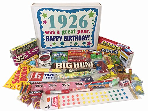Woodstock Candy 92nd Birthday Gift Box of Nostalgic Retro Candy from Childhood for a 92 Year Old Man or Woman Born in 1926 (Gifts For 92 Year Old Woman)