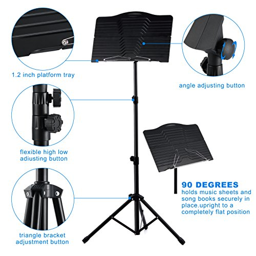 Donner Sheet Music Stand DMS-1 Folding Travel Metal Music Stand With Carrying Bag by Donner (Image #5)