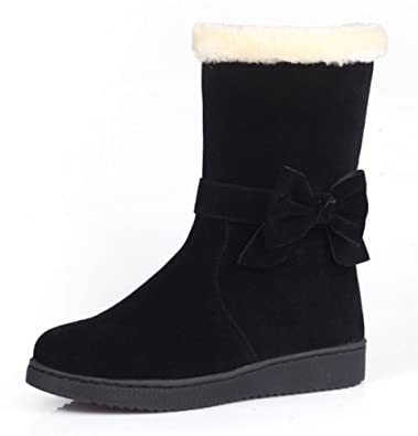 Women's Comfy Warm Detachable Bowknot Round Toe Flat Slip On Mid Calf Snow Boots Shoes