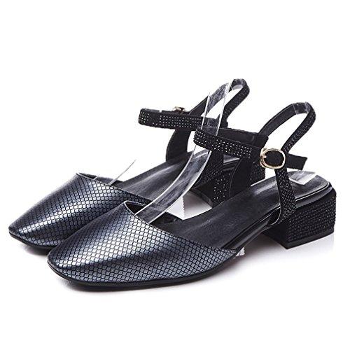 ENMAYER Womens Kuh-Leder überstreifen Schnall Quadratische Zehe Schuhe Für Blockabsatzs Sommer Beiläufig ModeSandals Himmel Blau