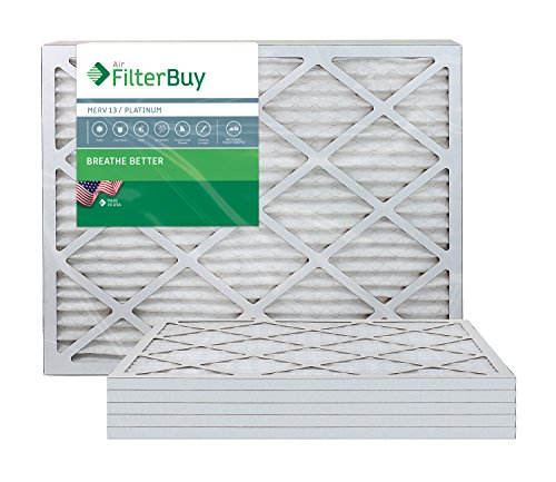 AFB Platinum MERV 13 12x36x1 Pleated AC Furnace Air Filter. Pack of 6 Filters. 100% produced in the USA.