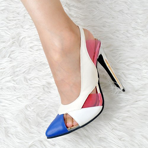 Slingback Weiß Cap Heels Womens Party High Kolnoo Handmade Toe 10cm Schuhe Pumps Fashion 8dx74