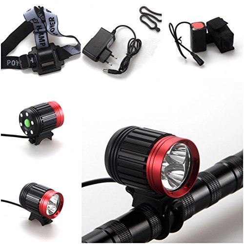 1 Pcs Matchless Popular Style 4 Modes 6000Lm 3x LED Bike Lights Waterproof Design Material Aluminum Front Headlight Color Black with Red (Glock 22 Conversion Kit)