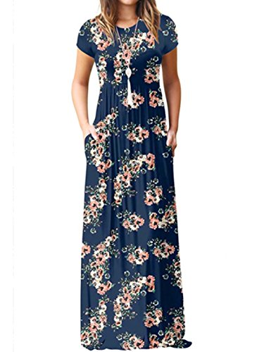 Blue Pattern Dress - Wuxh Women Casual Floral Printed Loose Swing Short Sleeve Maxi Dress with Pocket (Medium, Navy Blue 1)