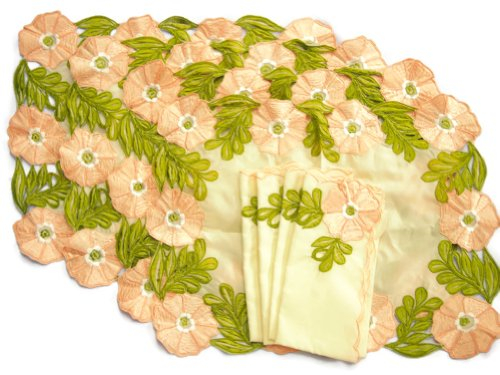 Thailand Handicraft - Set of 4 Linen Vintage Dining Table Placemats and Cloth Napkins - Pink Flower by SukSomboonShop
