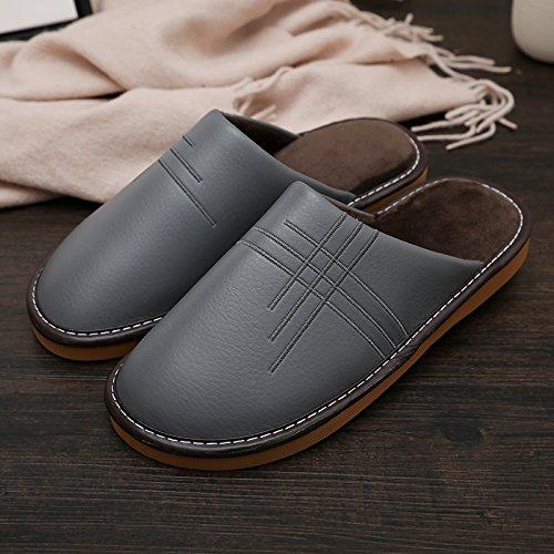 LaxBaAbsorption de choc mou et perméable à lintérieur dhiver Chambre pantoufles pour hommes et femmes Hommes gris adapté à 39-40 mètres