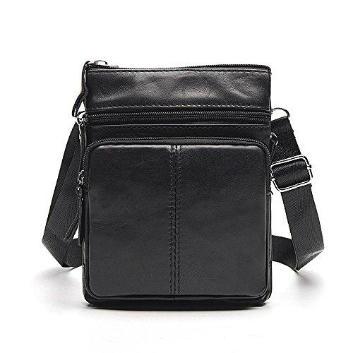 Bag Penao Bags Leather Black Zipper Messenger Men SxtZqxRnH