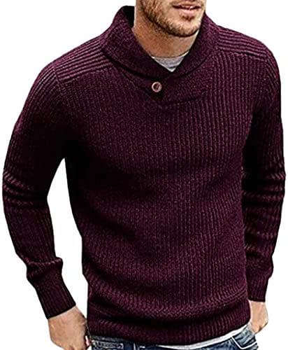 Mens Winter Solid Color Turtleneck Tops Knit Sweater Slim T-Shirt Clothing Fashion 2019