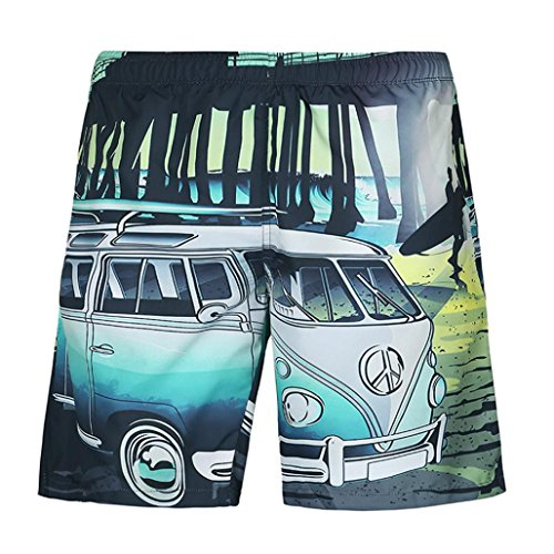 Winsummer Mens Plus Size Short Pants Men's Casual Car 3D Print Hawaiian Beach Board Shorts Swim Trunks (Multicolor,3XL)