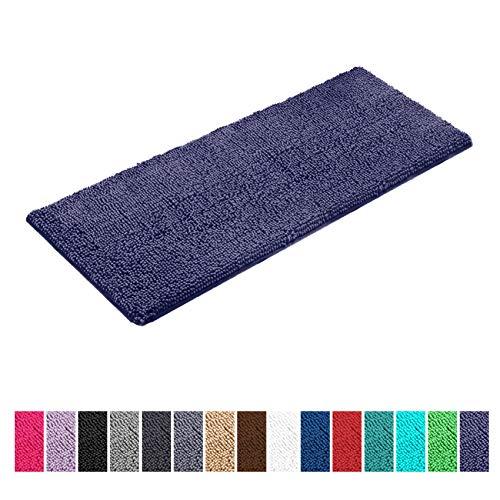 LuxUrux Bathroom Rug Mat -Extra-Soft Plush Bath Shower Bathroom Rug,1 Chenille Microfiber Material Shag Bathtub Mat, Super Absorbent. Machine Wash & Dry (27 x 47 Inches, Dark Blue)