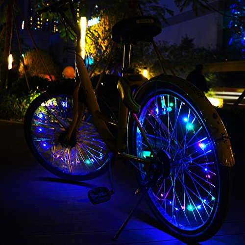 allnice Bike Wheel Lights Waterproof 20LED Bike Spoke Lights USB Rechargeable Colorful Cycling Lights Bicycle Tire Accessories for Night Riding Safety Warning and Decoration (Multicolor, 1 Pack) by allnice (Image #6)