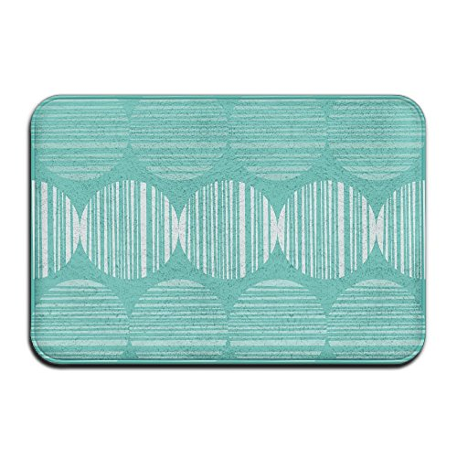 LuckYYou Easy To Washing Cool Square Coral Blue Line Geometry Doormat Door Mat For Women (Halloween In Baltimore Be Like)