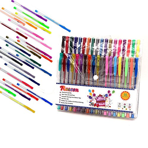 Reaeon Gel Pens for Adult Coloring Book, Set of 36 Colored Ink Gel Pen for Kids Drawing Book Including Glitter