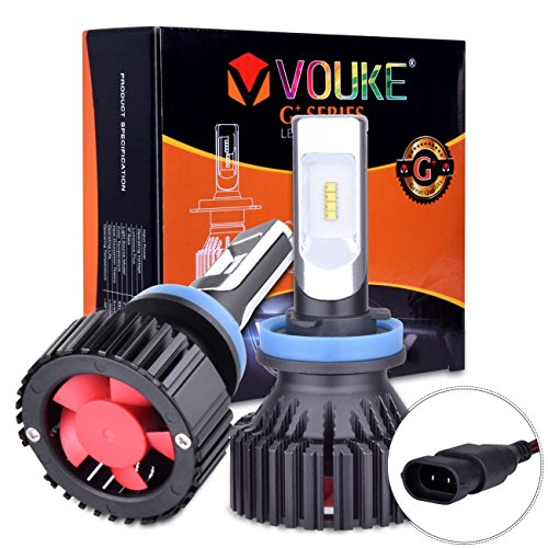 G H11 H8 H9 Low Beam Headlamp Fog Driving Light 8000 Lumens With Extremely Bright Phi Zes Aec Chips All In One Led Headlight Conversion Kit Halogen Head Light Replacement 6500k White 1 Yr Warranty
