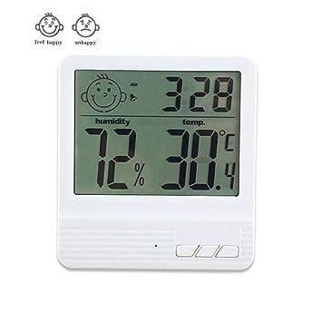 XLWDJ Termómetro Higrometro Digital Interior/Termohigrómetro Medido para Habitacion Temperatura Y Humedad Monitor con Reloj Despertador,para Habitación, ...