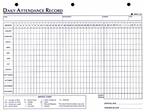 Adams Daily Attendance Record, 8.5 x 11 Inches, 3-Hole Punched, 50-Pack, White (9493)