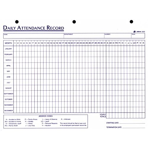 adams daily attendance record 8 5 x 11 inches 3 hole punched 50