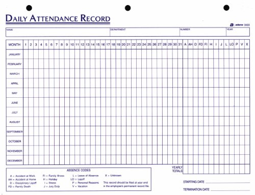 printable attendance record