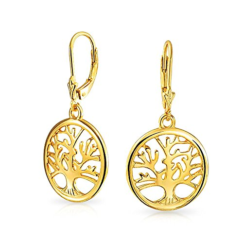 Round Disc Circle Family Wishing Tree Of Life Dangle Earrings For Women For Teen 14K Gold Plated Sterling Silver