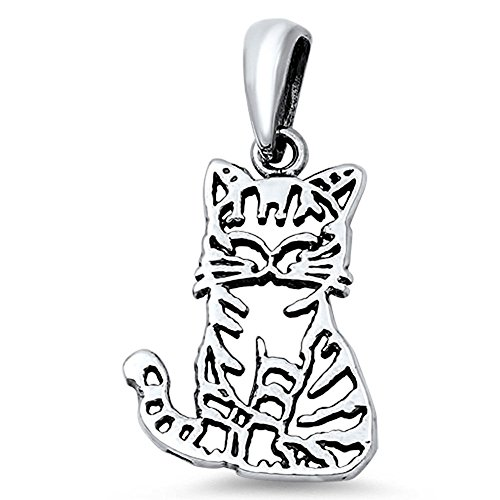(Cat Pendant .925 Sterling Silver Outline Charm - Silver Jewelry Accessories Key Chain Bracelet Necklace Pendants)