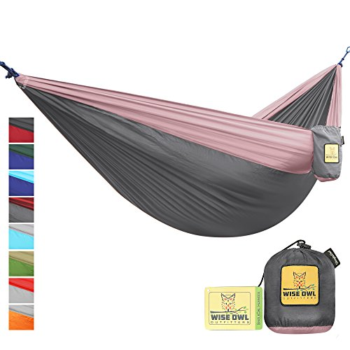 Wise Owl Outfitters Portable Lightweight Parachute Nylon Fabric Hammock with Ropes and Carbines, SingleOwl, Charcoal Grey & Rose