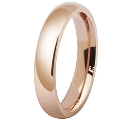 e030640404a Fashion Month Womens 4mm Stainless Steel Rose Gold Simple Style Wedding  Ring Engagement Band High Polished