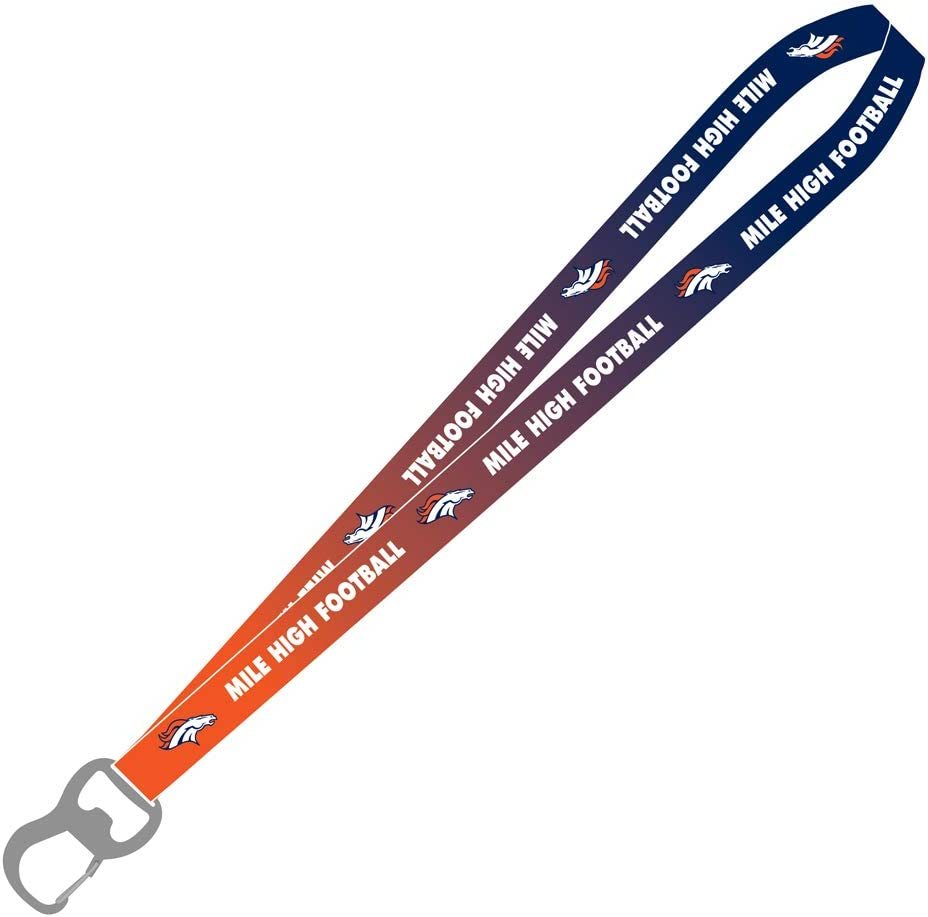 Pro Specialties Group Denver Broncos Ombre Mile High Football Lanyard with Bottle Opener Blue Small Model Number: PSGLS0456956