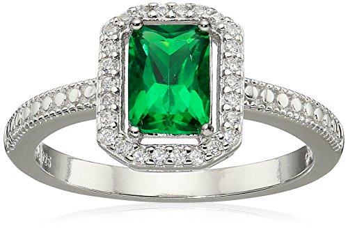 Sterling Silver 7x5 Emerald - 9