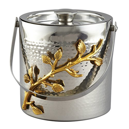 Elegance 70027 Golden Vine Ice Bucket, 6.25″, Silver/Gold