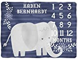 Elephant Milestone Blanket - Baby Boy Blue Blanket with Months - Monthly Growth Tracker - Photo Prop - Personalized Newborn Shower Gift (50x60)