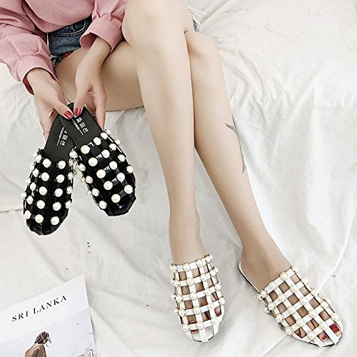 Hollow T JULY Slip Slippers Close for on Flat Out Outdoor Toe Women Rivets Fashion White3 Sandals Dress Girls Indoor Studded Or0qdxwrFg