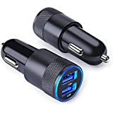 Dual USB Car Charger Adapter 2-Pack 3.4A Quick Charge Flush Fit Smart Port Car Power Adapter for iPhone 8 8 Plus X 7 6, iPad, Samsung Galaxy S8 S8 Plus S9 S7 Note 8, LG V20 G6 G5, Google Pixel, Moto